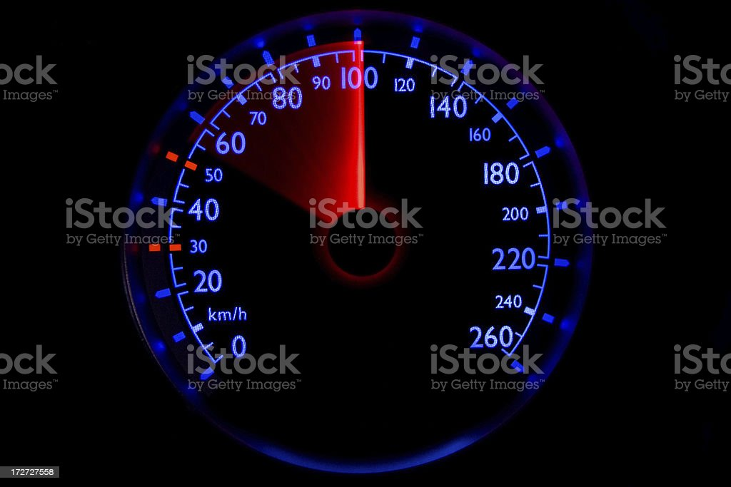 The blue speedometer - accelerating from 55 to 100 km/h royalty-free stock photo