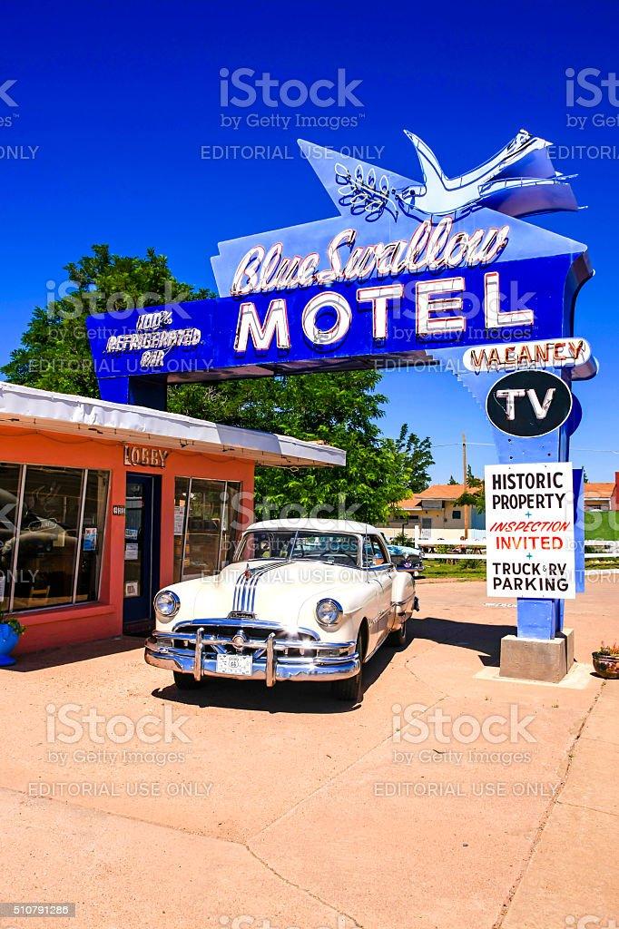 The Blue Swallow Motel on Route 66 in Tucumcari NM stock photo
