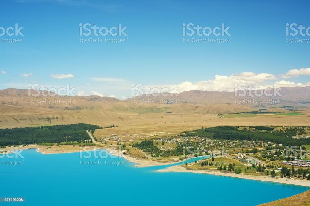 The Blue Waters Of Lake Tekapo On New Zealand's South Island stock photo