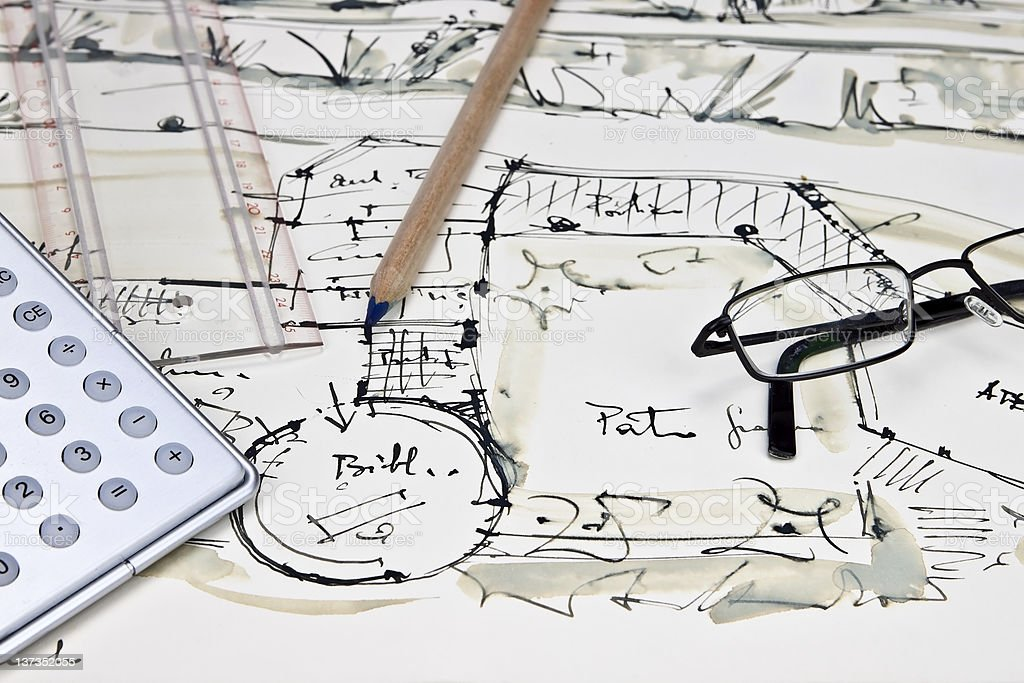 the blueprint of a house royalty-free stock photo