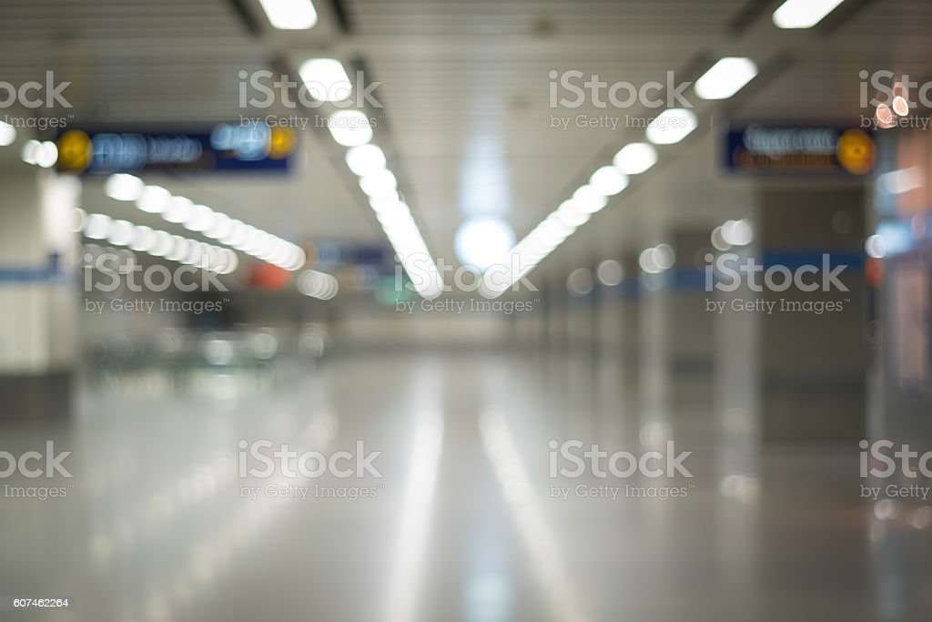 The blurred of corridor inside the metro station. stock photo