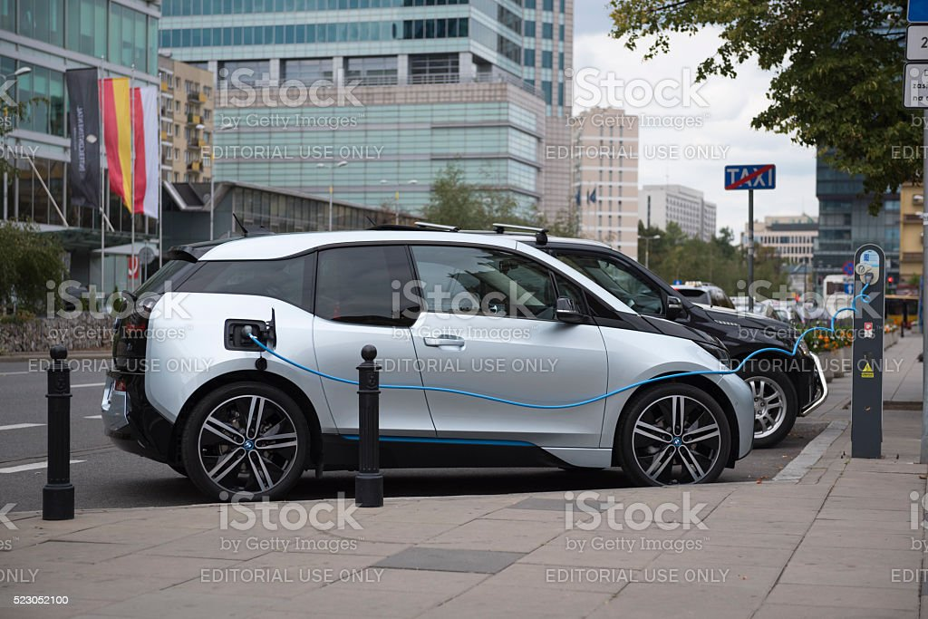 The BMW i3 electric car in Warsaw, Poland stock photo