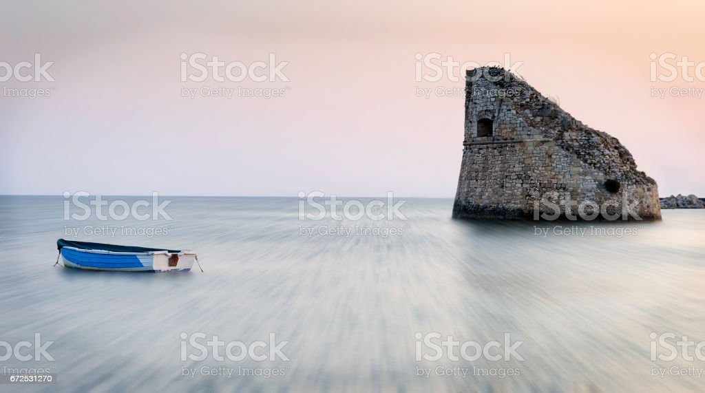The boat an the tower stock photo