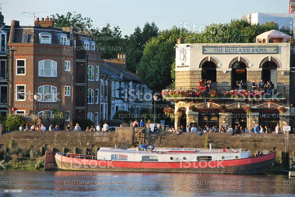 The Boat and the Pubs stock photo