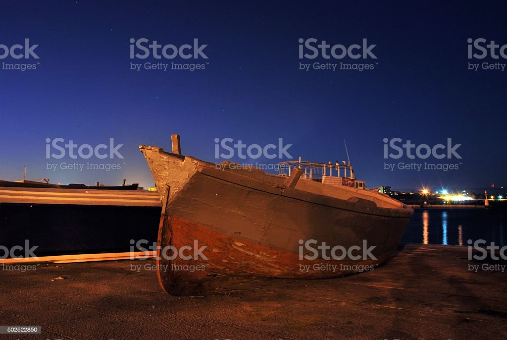 The boat on the Dock stock photo