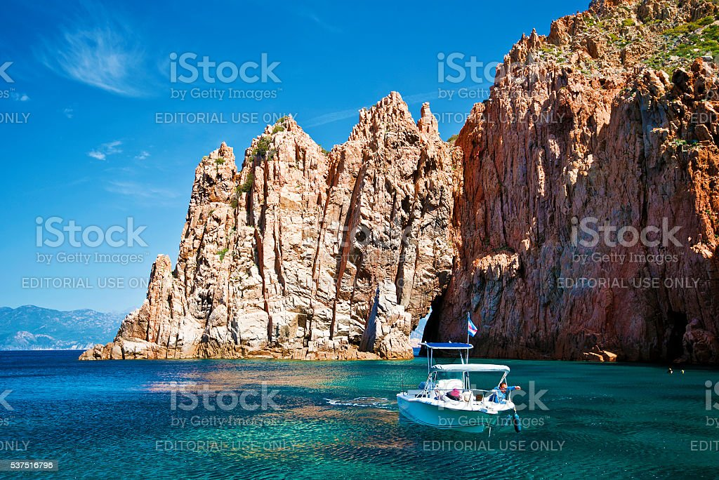 The boat trip at Capo Rosso in Corsica stock photo