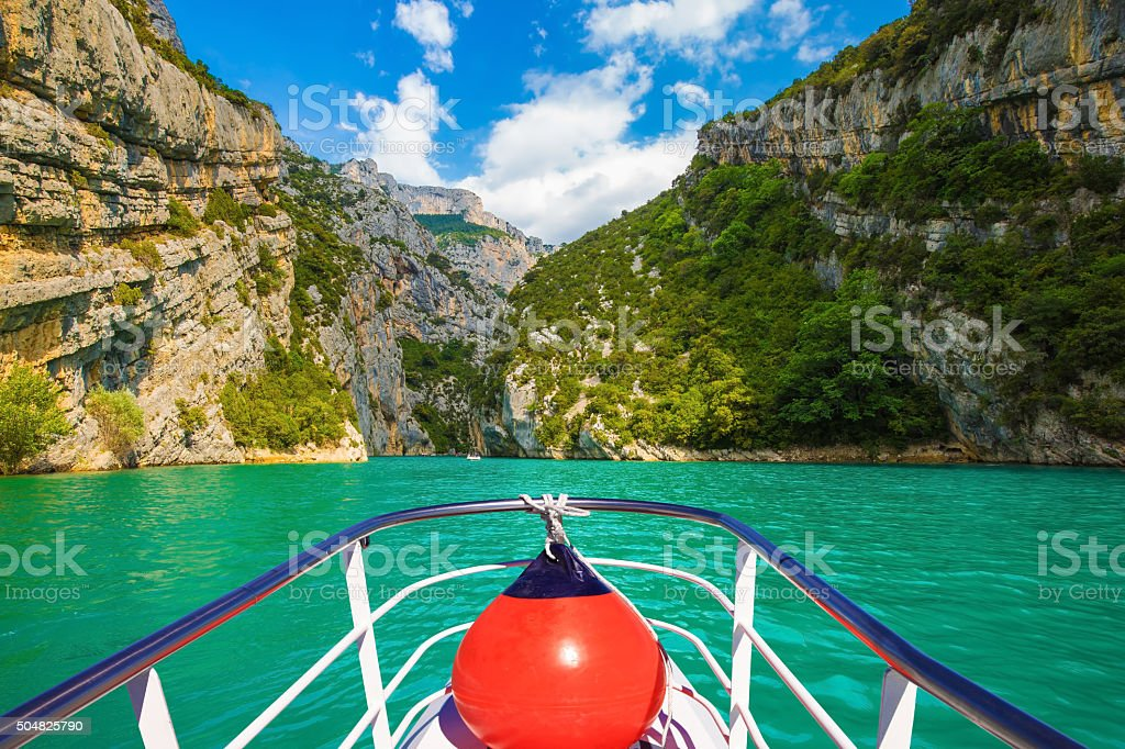 The  boat with the red lantern stock photo
