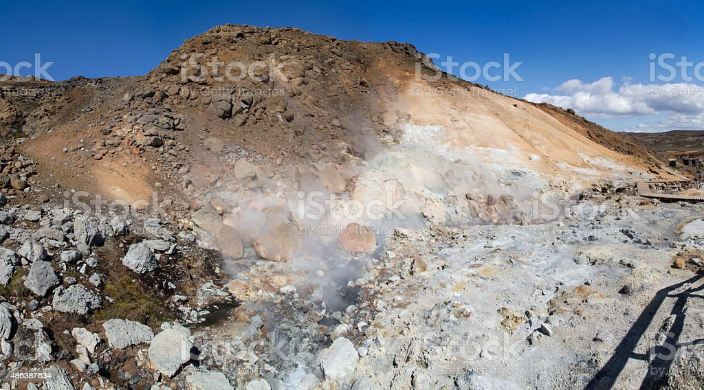 The Boiling Mud pots of Iceland stock photo