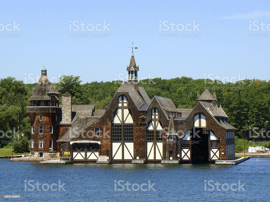 The Boldt Castle Yacht House on Wellesley Island stock photo