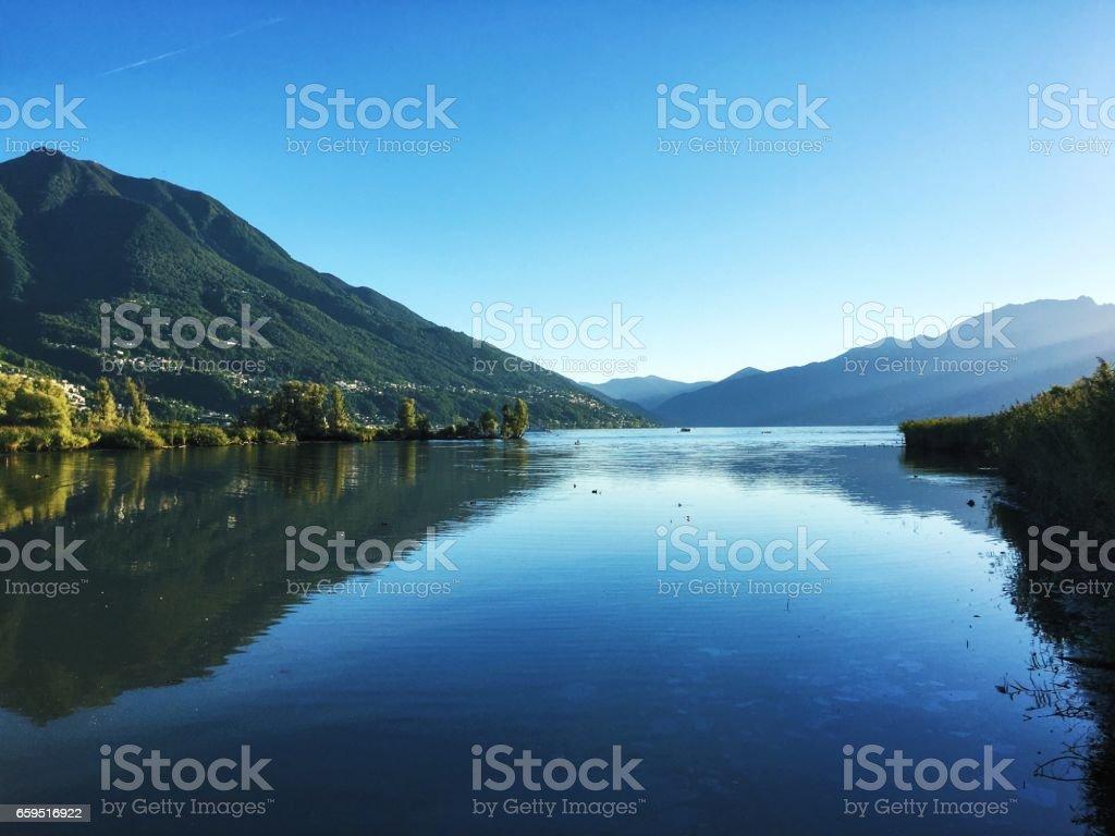 The Bolle di Magadino nature reserve on Lake Maggiore stock photo