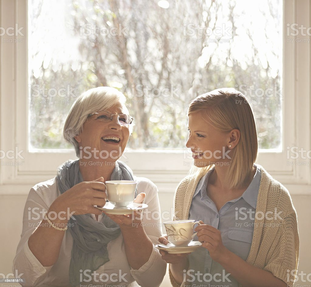 The bond between granny and granddaughter stock photo
