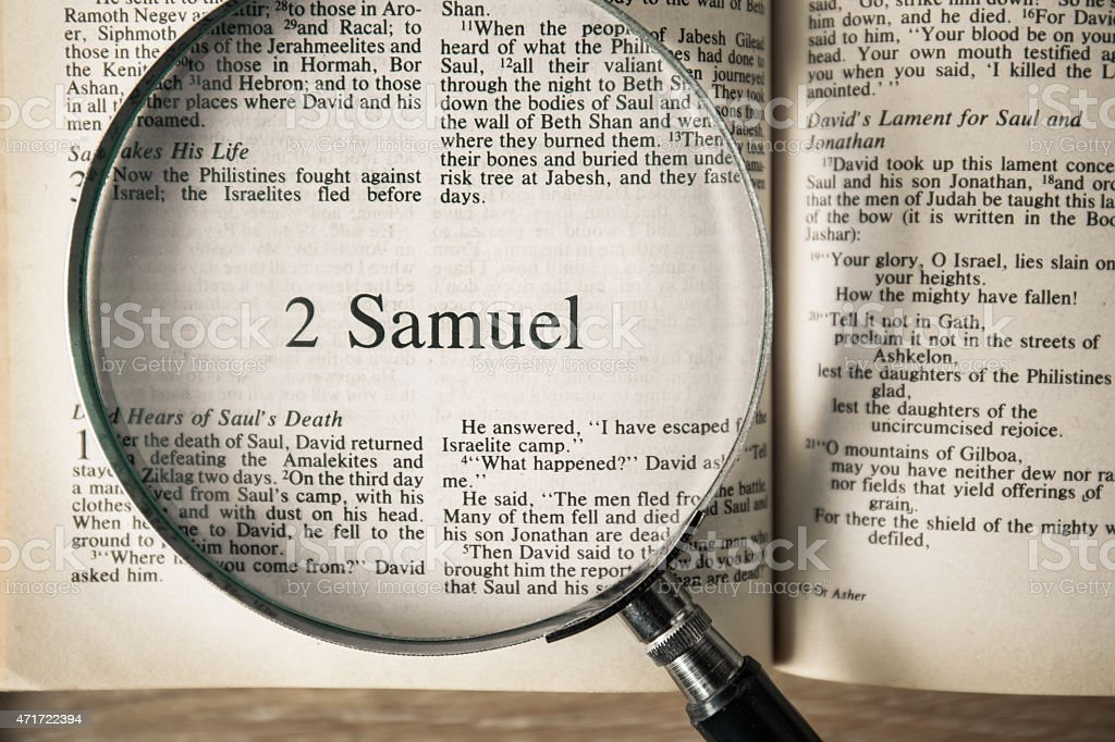 the book of 2 Samuel Reading The New International Version stock photo