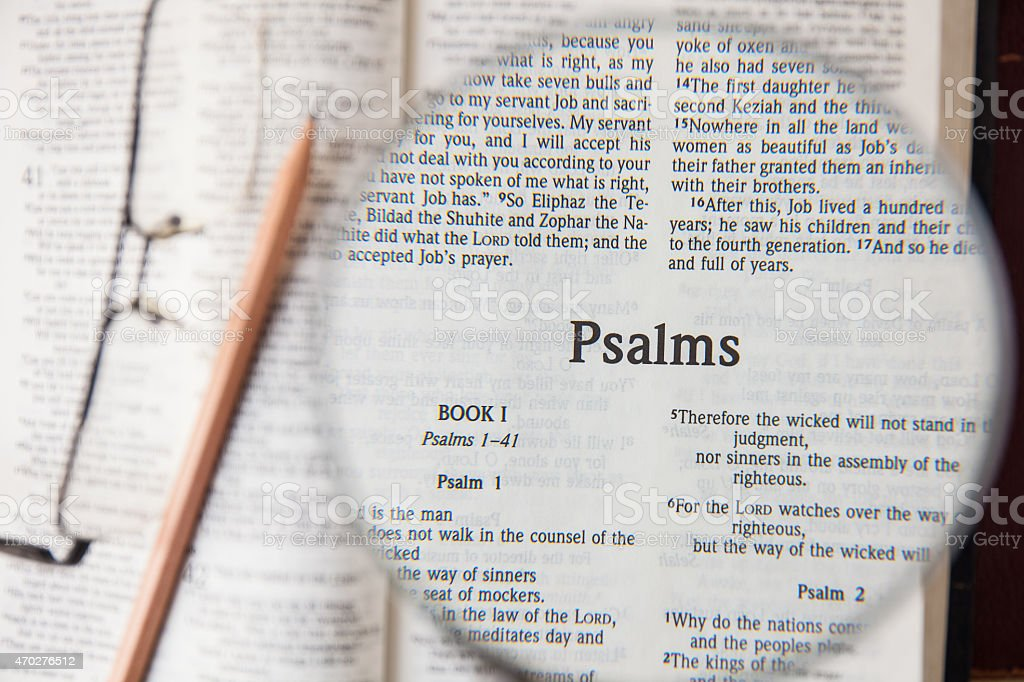 the book of Psalms Reading The New International Version stock photo