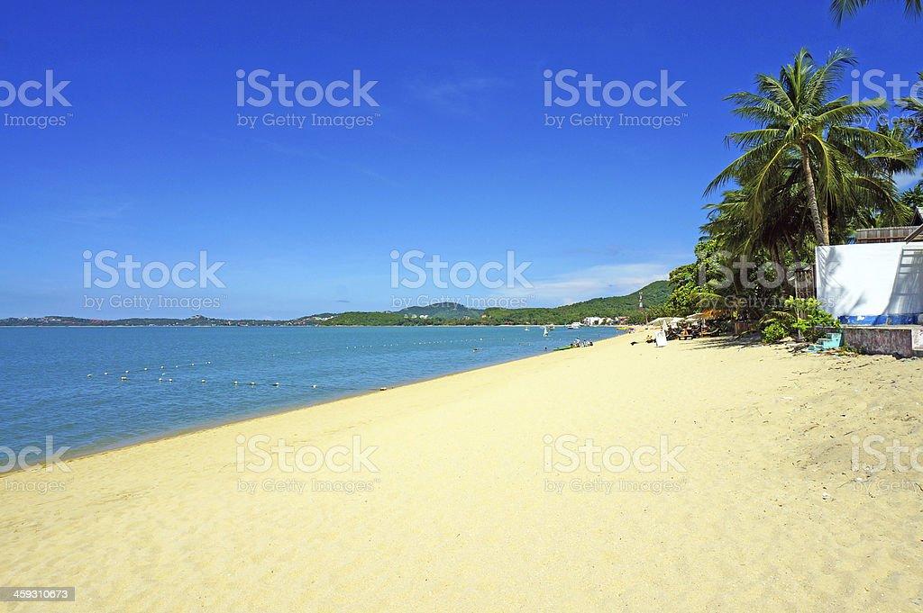 The Bophut Beach With White Sand And Blue Sky stock photo