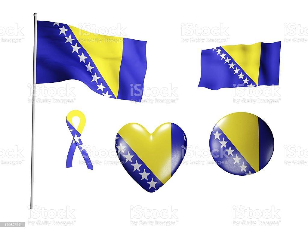 The Bosnia and Herzegovina flag - set of icons royalty-free stock photo