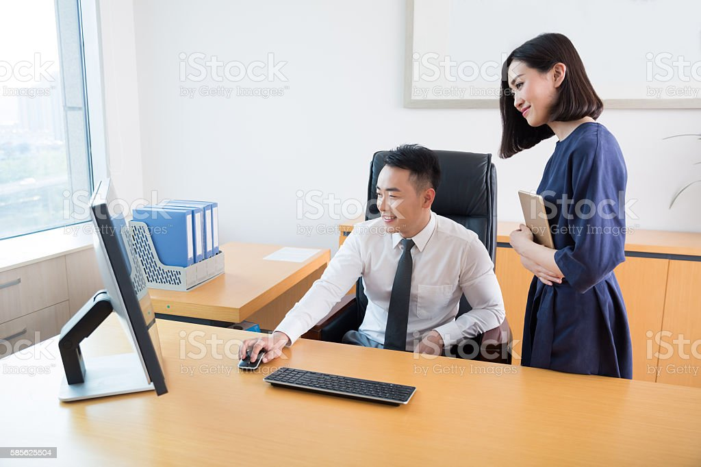 the boss and his secretary stock photo