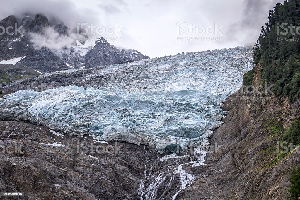 The Bossons Glacier is one of the larger glaciers stock photo