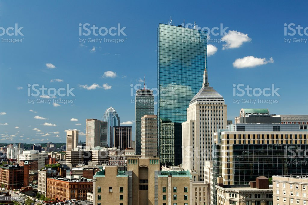 The Boston city skyline on a nice clear day stock photo