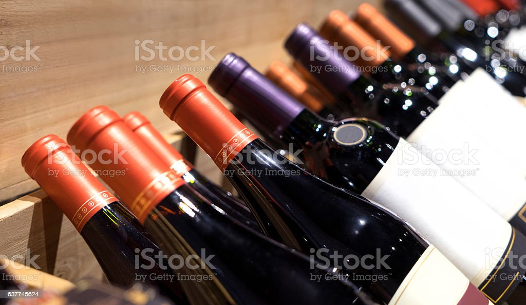 The bottle of wine. wines on display. wine shop. stock photo