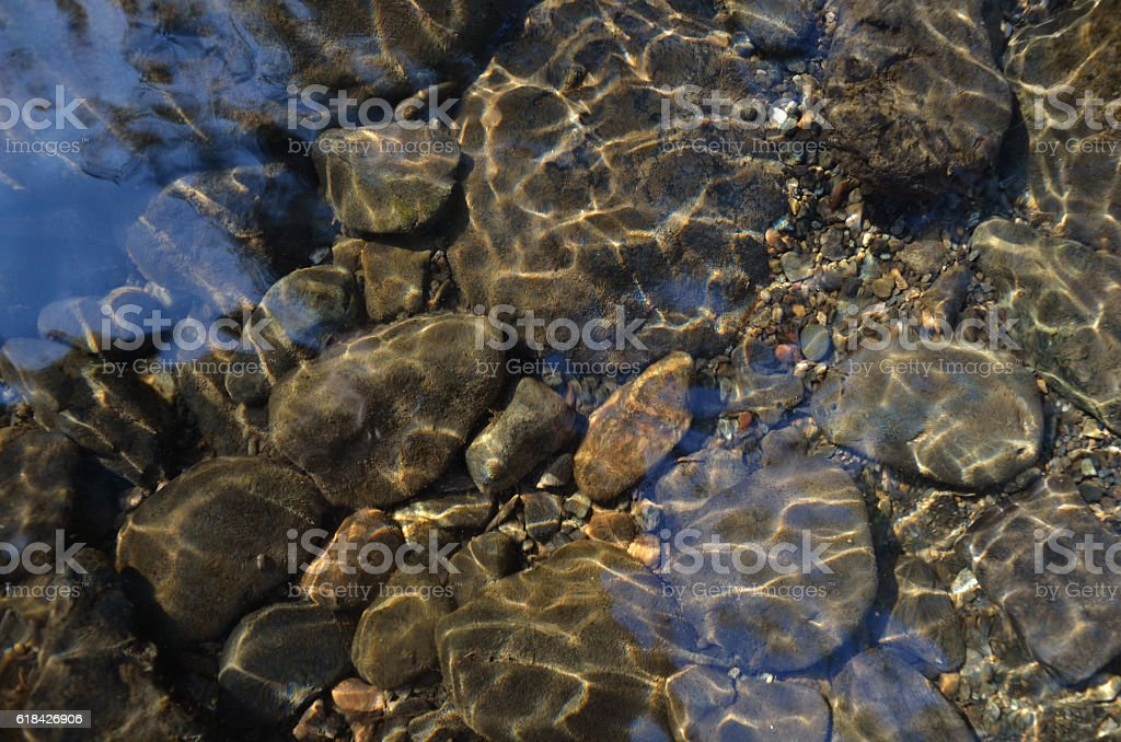 the bottom of a clear stream stock photo