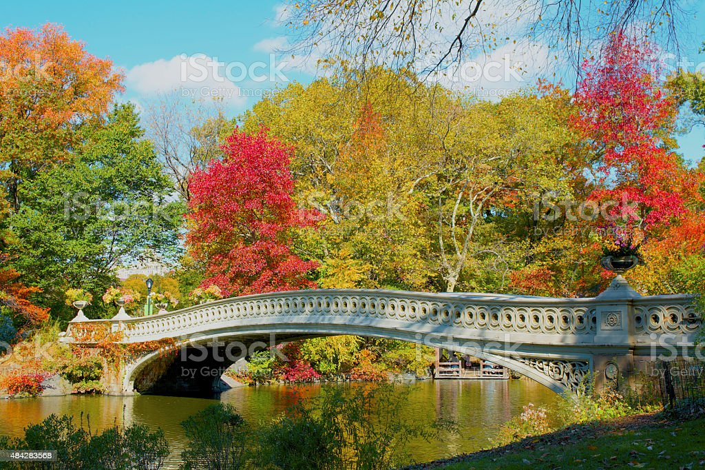 The Bow Bridge, Central Park stock photo