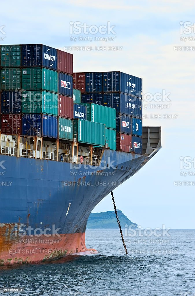 The bow of a huge container ship CMA CGM Marlin. stock photo