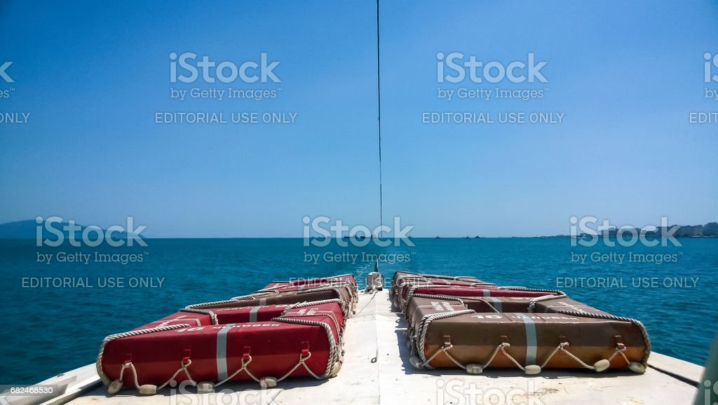 The bow of the boat with survival squares for 16 people. Sea port stock photo