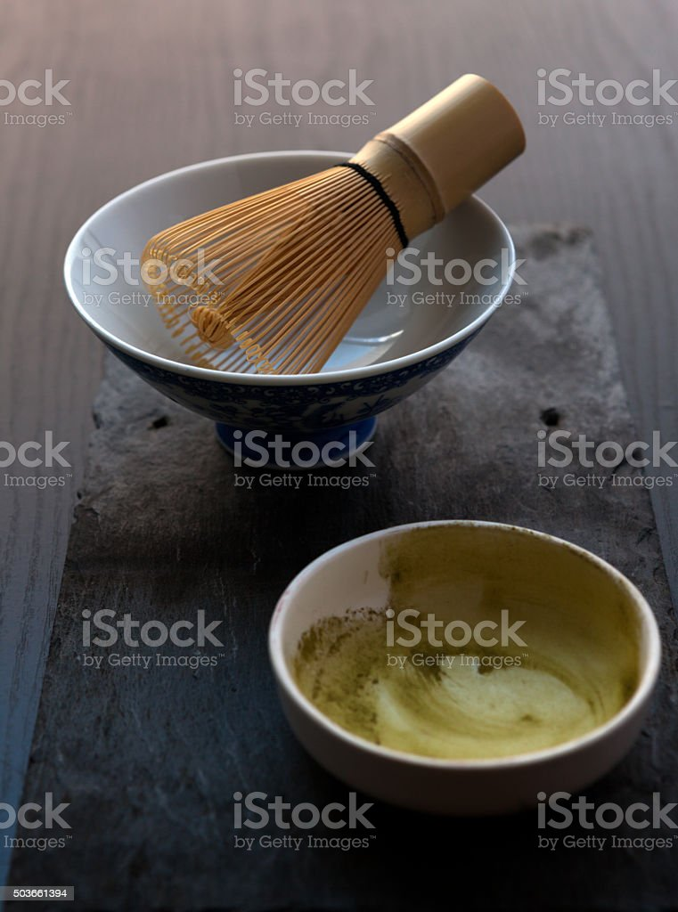The bowl with bamboo whisk stock photo