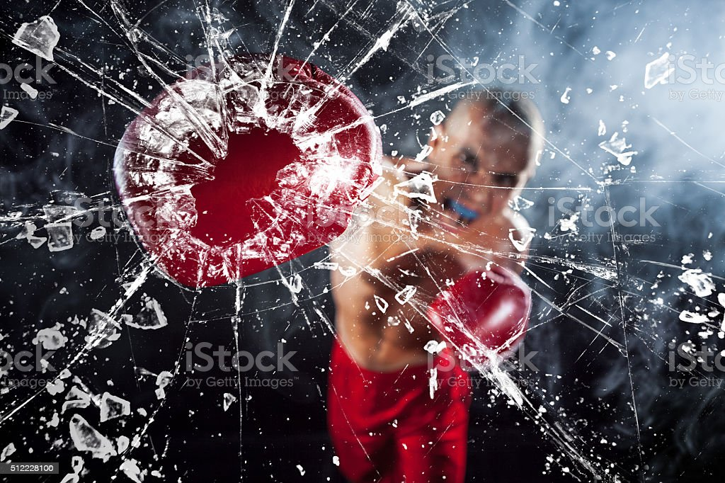 The boxer crushing a glass stock photo