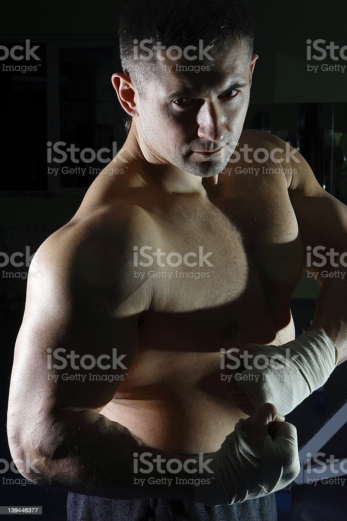 The boxer on training royalty-free stock photo