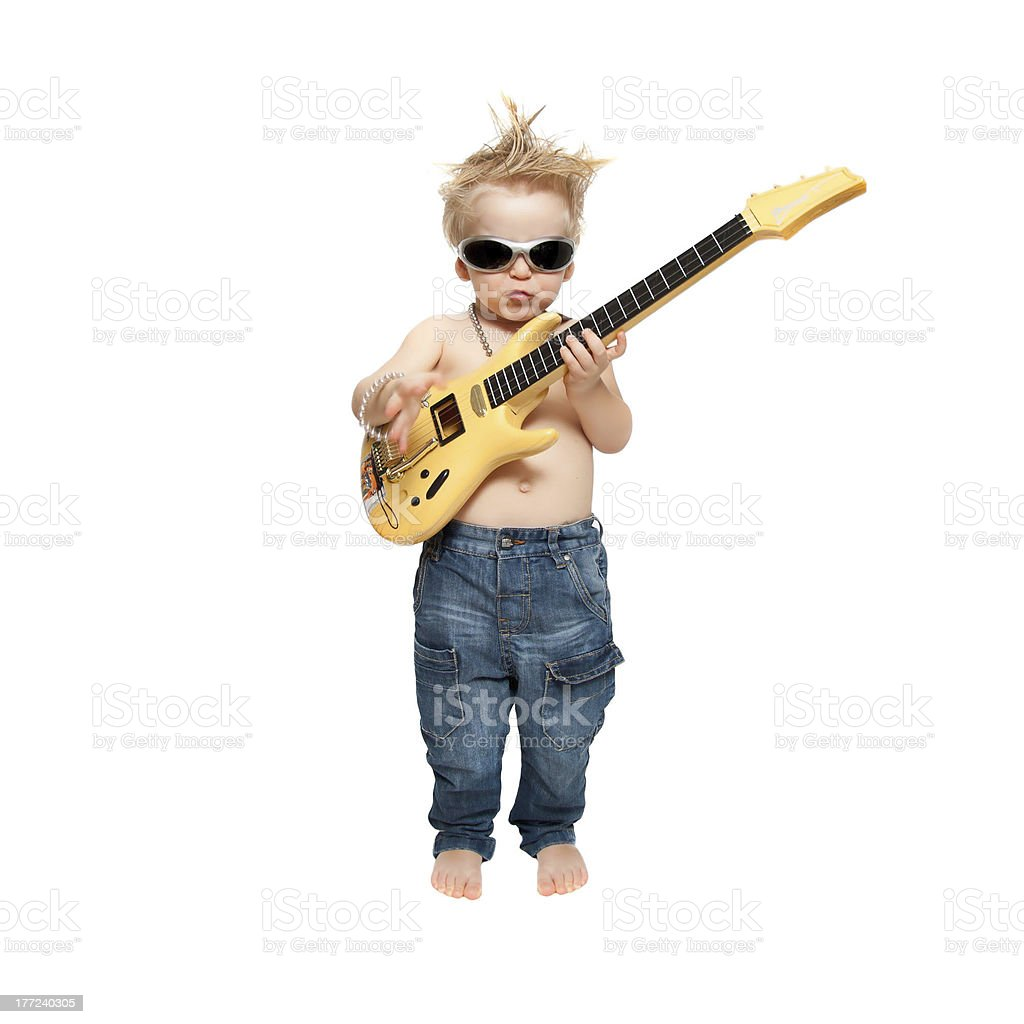 the boy and electric guitar stock photo