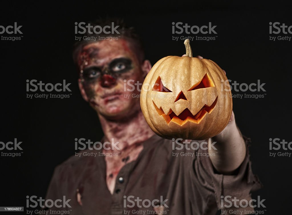 The boy is zombie stock photo