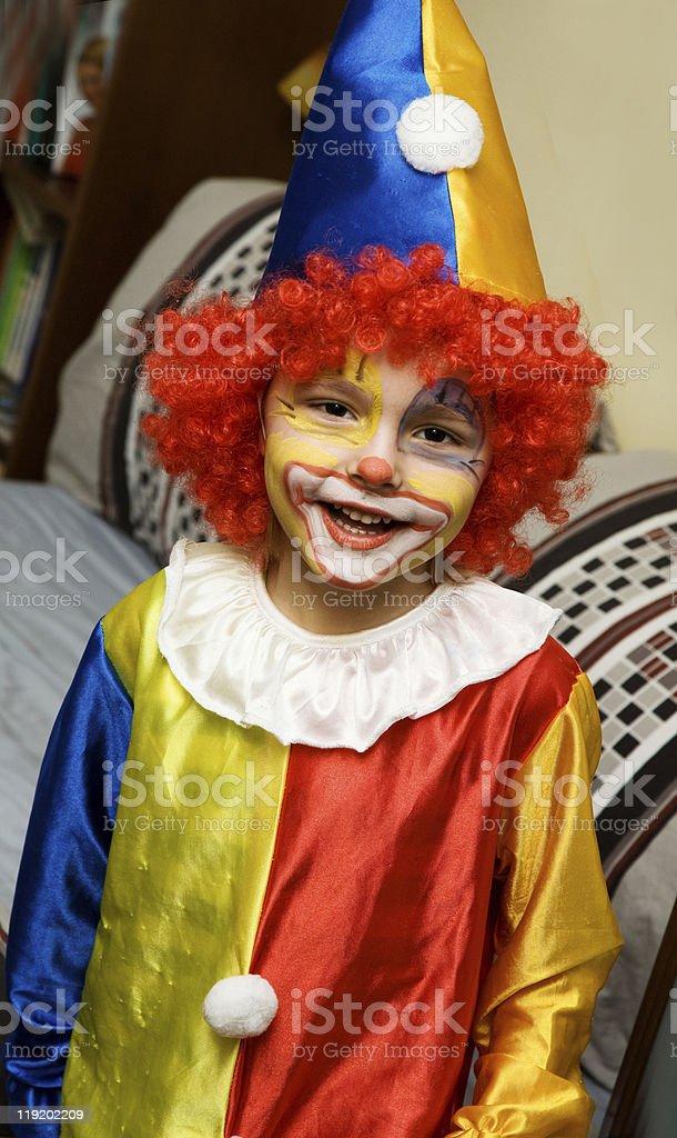 The boy wearing clown royalty-free stock photo
