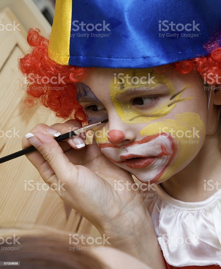 The boy wearing clown royalty-free stock photo