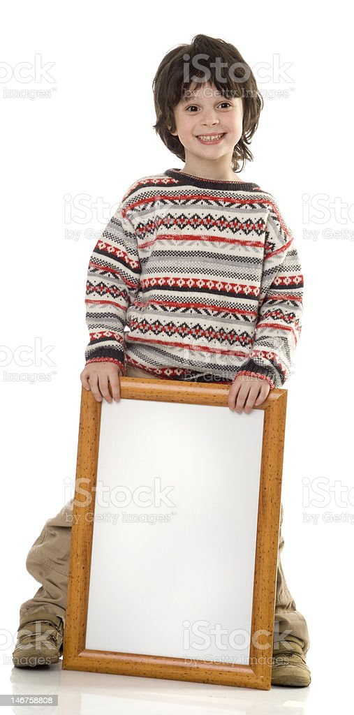 The boy with a frame royalty-free stock photo