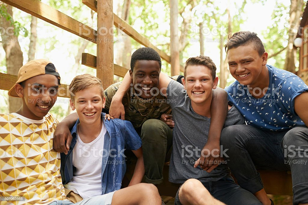 The boys are back together stock photo