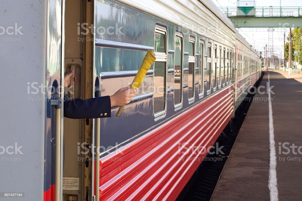 The bracket holds the signal flag to send the train stock photo