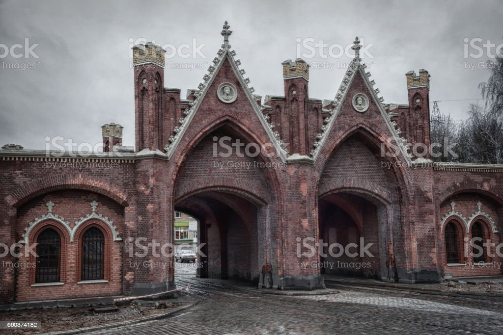The Brandenburg gate in Kaliningrad, Russia stock photo