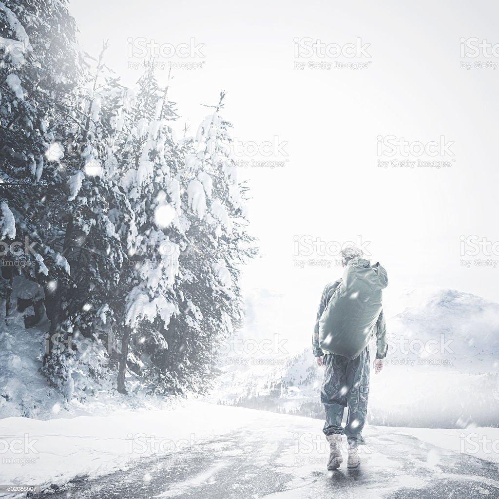 The brave walk alone stock photo