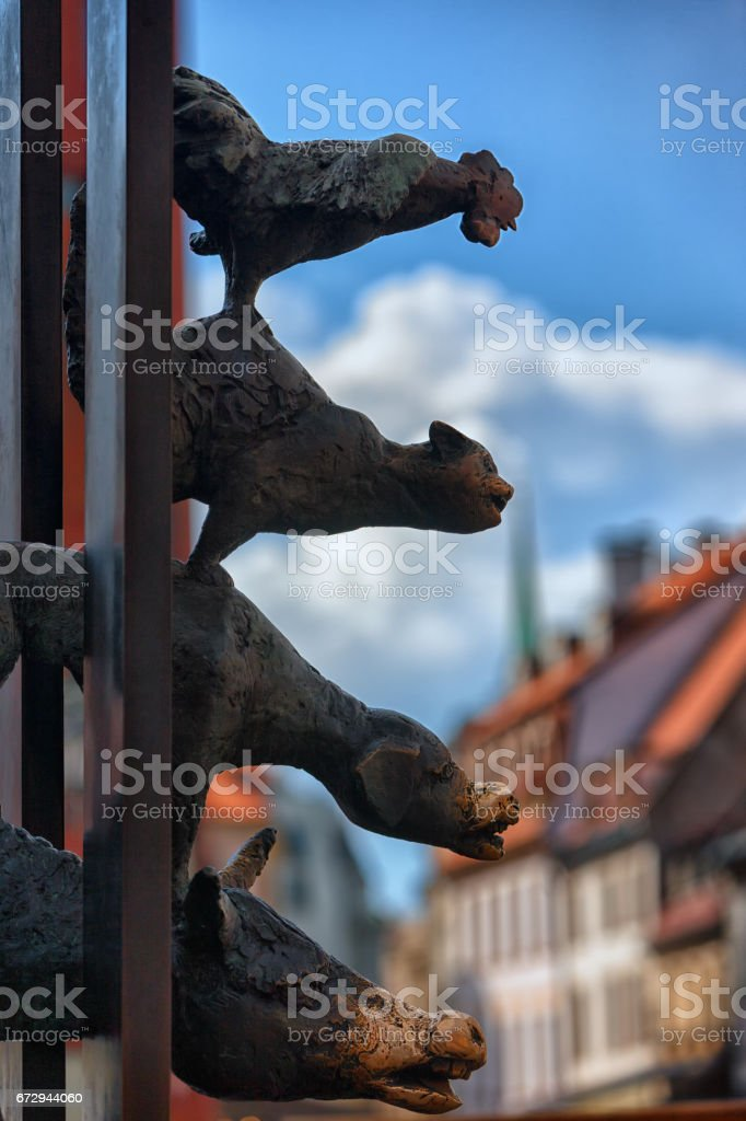 The Bremen town musicians in old Riga stock photo