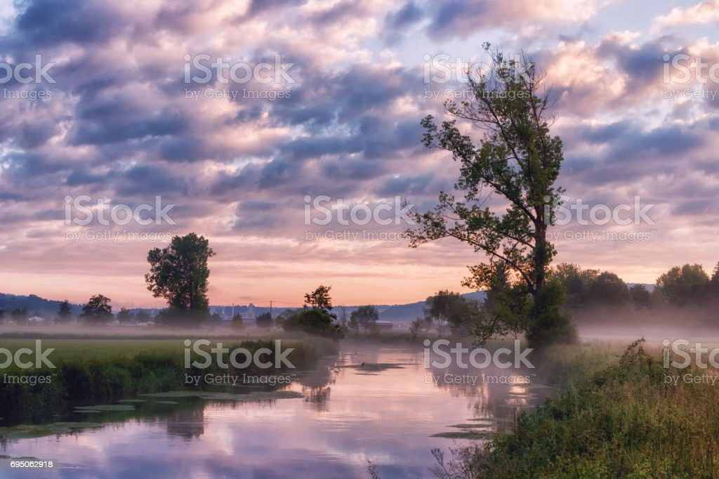 The Brenz river in Eselsburger Tal near Herbrechtingen, Germany at early morning stock photo