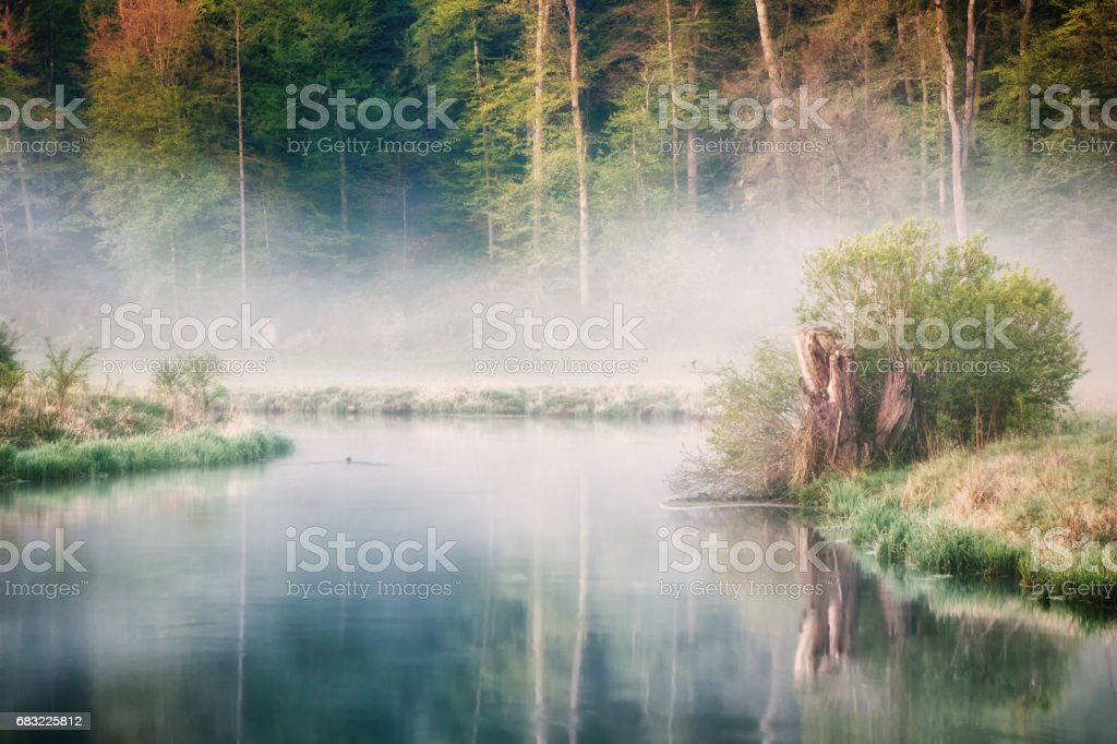 The Brenz river in Eselsburger Tal near Herbrechtingen, Germany stock photo