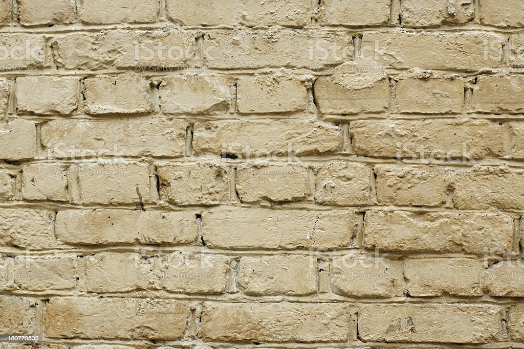 The brick wall is painted royalty-free stock photo