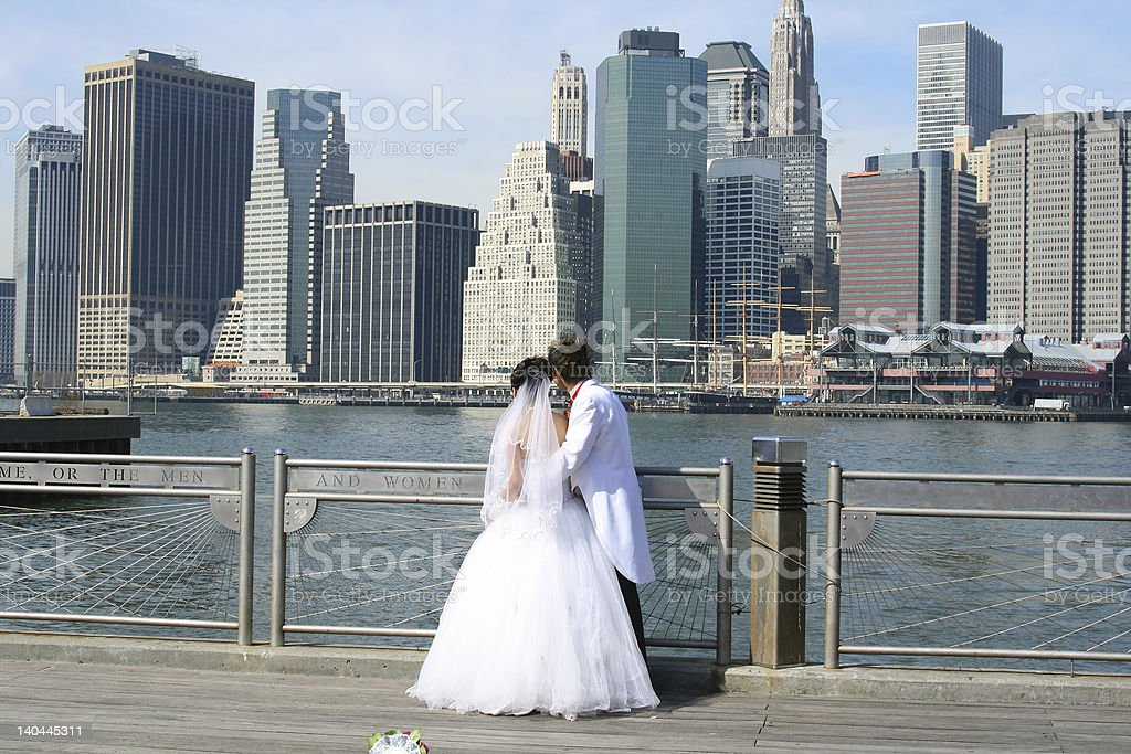 The Bride and Groom, New York Skyline stock photo