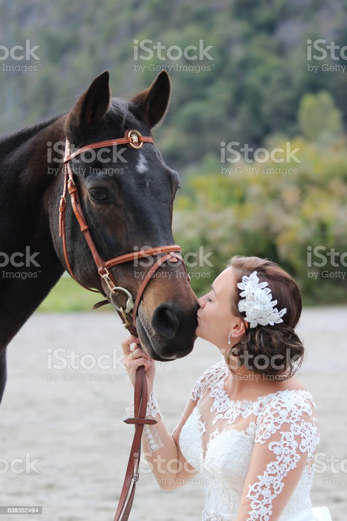 the bride and the horse stock photo