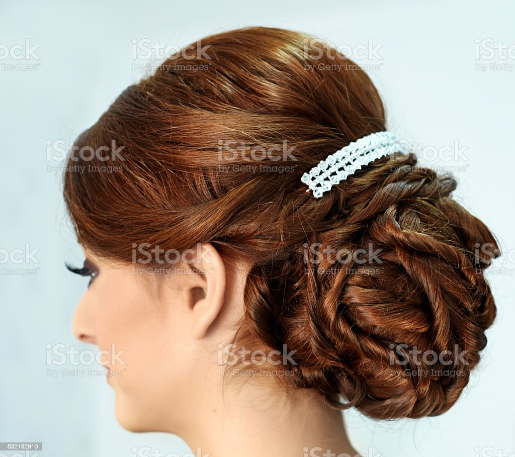 the bride hairstyle stock photo
