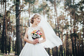 The bride in a white dress