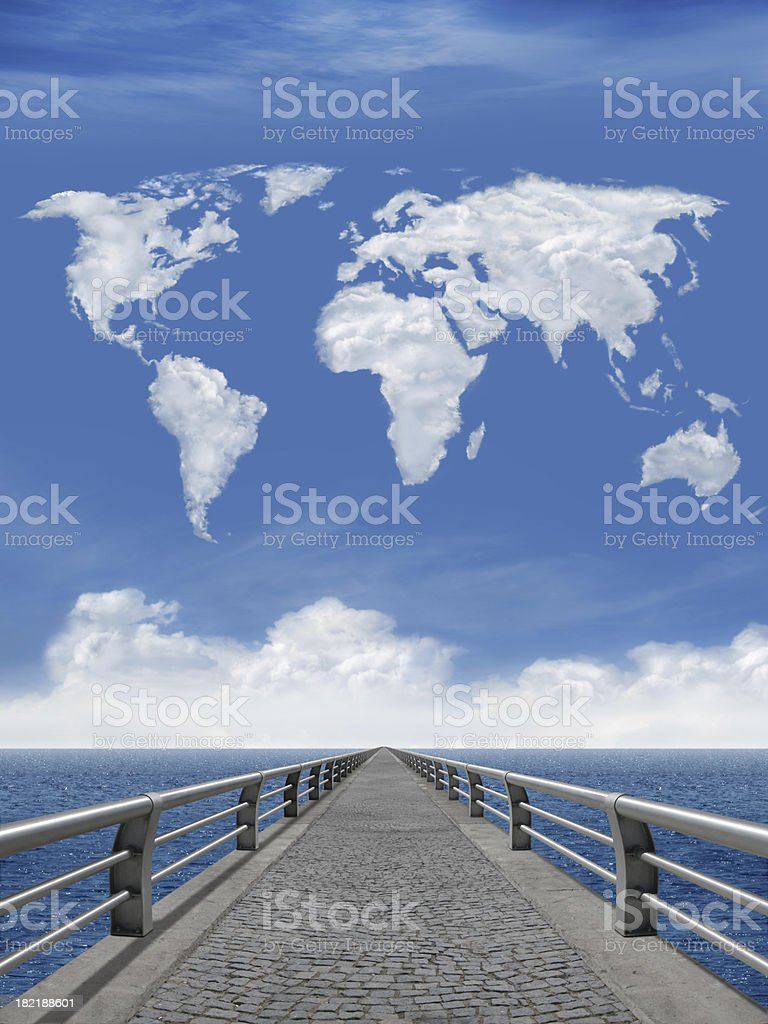 The Bridge And World Map royalty-free stock photo