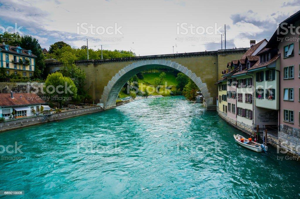 The bridge cross the aare at Bern, Switzerland. stock photo