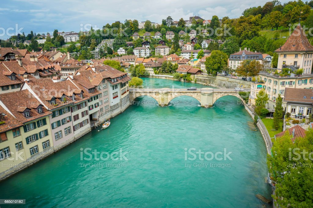 The bridge cross the Aare which is the great landmark in the city of Bern, Switzerland. stock photo